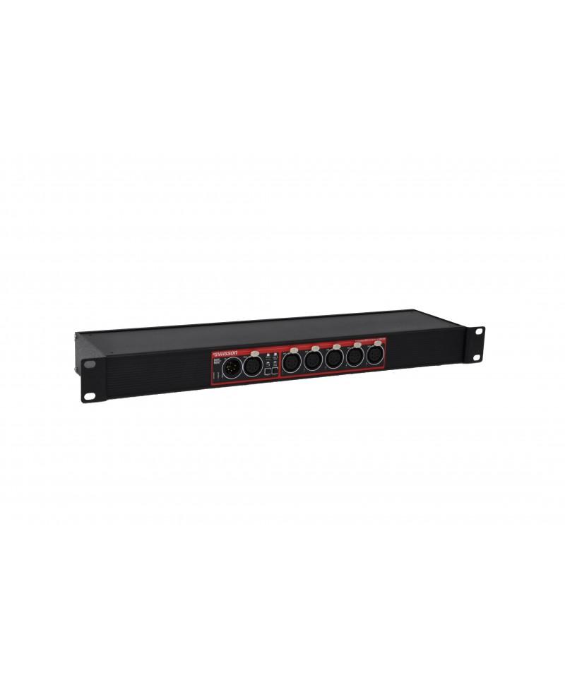 Swisson XSP - DMX Splitter 5pin XLR/3pin XLR, Provedení single Rack, Konektory 1x XLR5 In - 1x XLR5 Through - 5x XLR3 Out