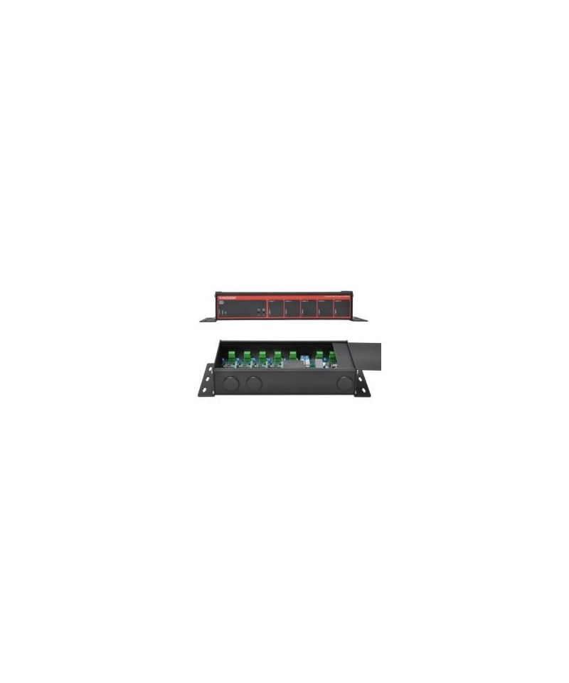 Swisson XSR - DMX & RDM Splitter Terminal, Provedení single Rack, Konektory 1x svorka In - 1x svorka Through - 5x svorka Out