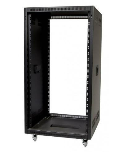 """Rack 19"""" - rovný, s větracími otvory, rukojeti - hl. 566 mm"""