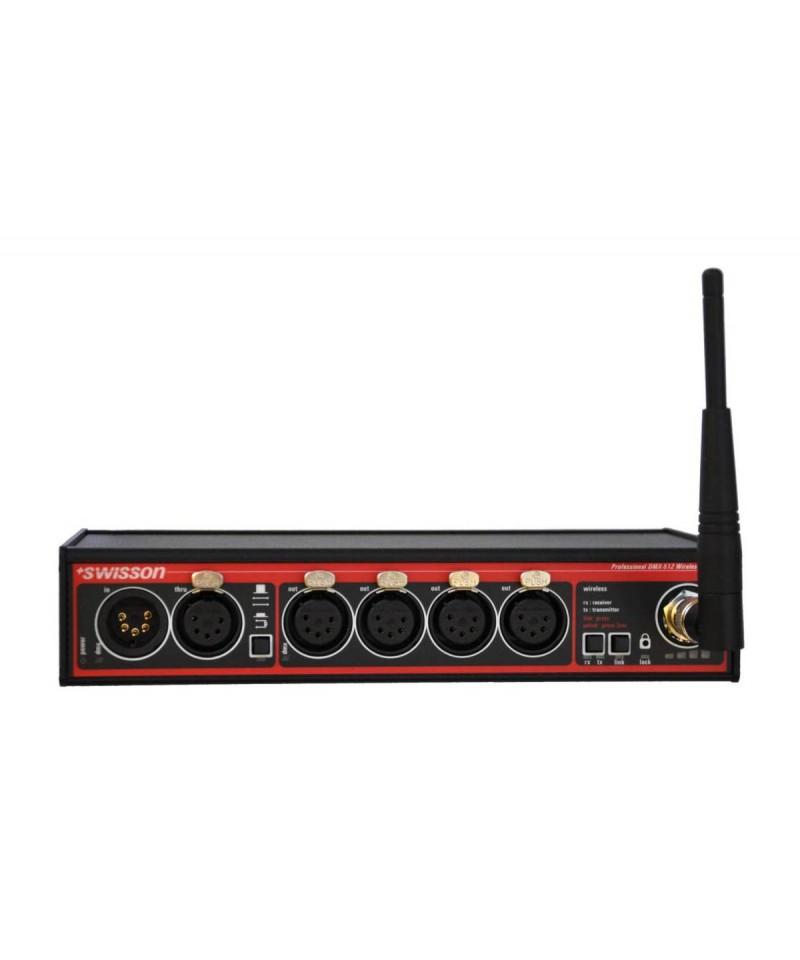 Swisson XSW - CRMX Wireless DMX Splitter, Provedení Box, Konektory 1x XLR3 In - 1x XLR3 Through - 4x XLR3 Out - CRMX (LumenRadio)