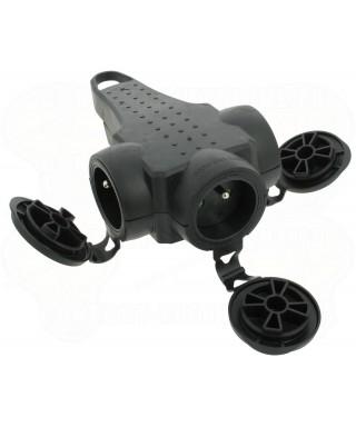 Trojzásuvka gumová 230V/16A